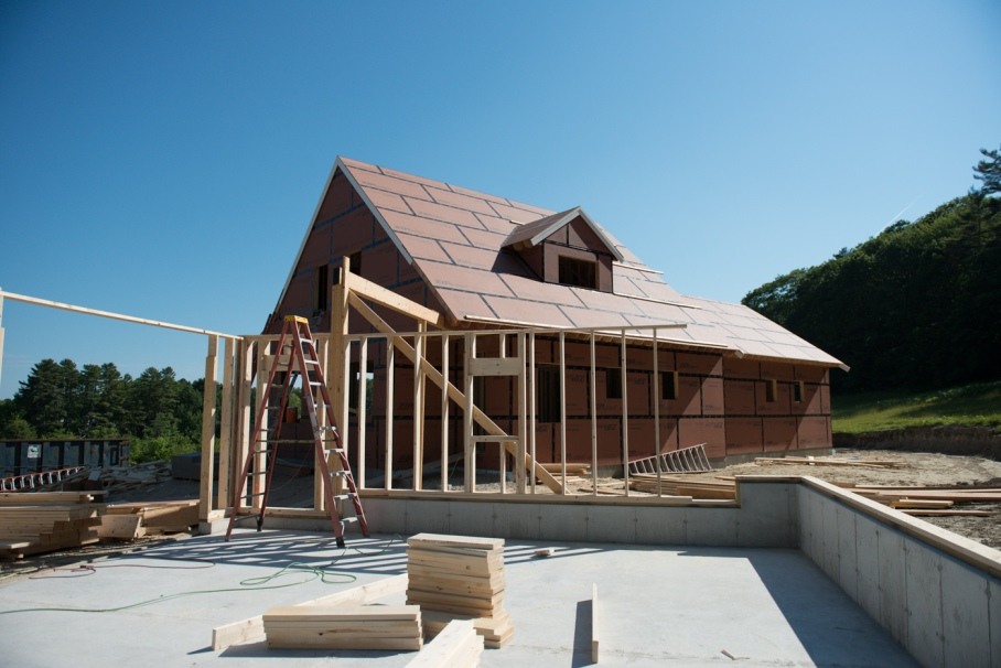 Looking from the garage towards the main house.  The beam will be for the walkway connecting the two structures.
