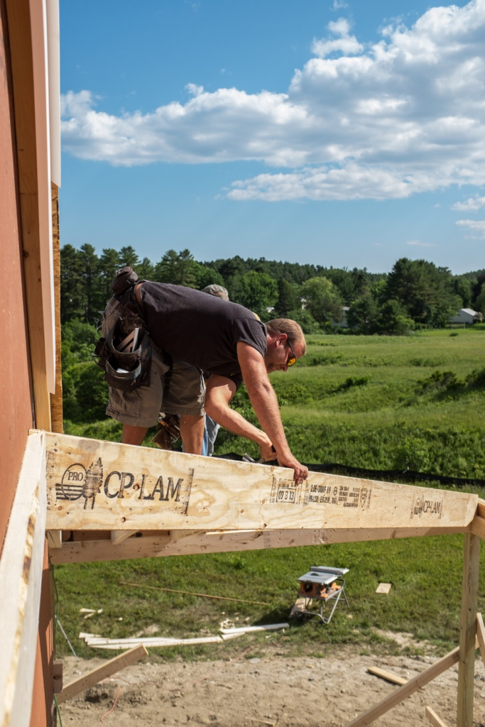 Pete working on the porch hip roof
