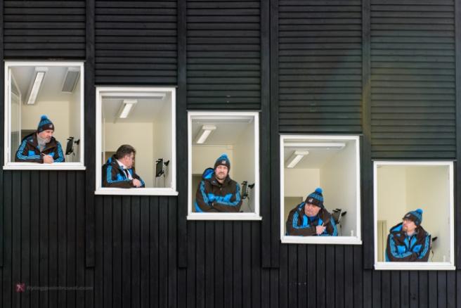 Ski jumping judges.
