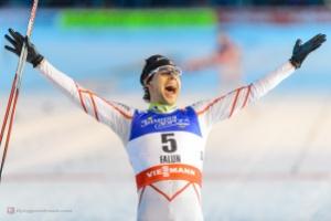 Alex Harvey celebrating his silver medal in the 30k skiathlong