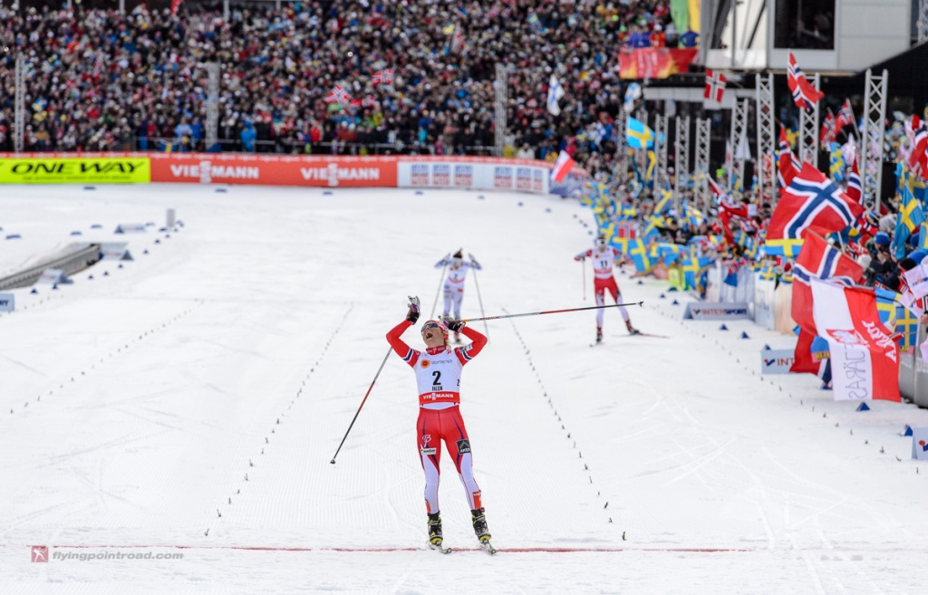 Therese Johaug winning the 15k Skiathlon